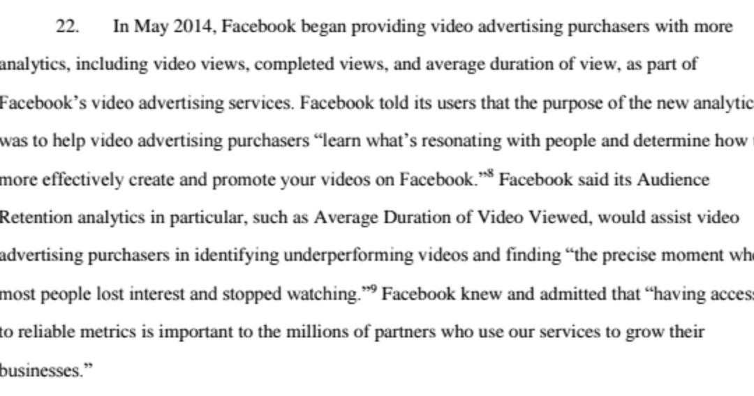 Facebook acusado de fraude en métricas de video